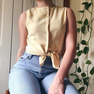 VINTAGE • sleeveless button down shirt
